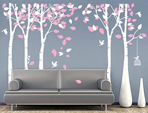 (Fymural 5 Trees Wall Decals - Forest Mural Paper for Bedroom Kid Baby Nursery Vinyl Removable DIY Decals 103.9x70.9, White+Pink)