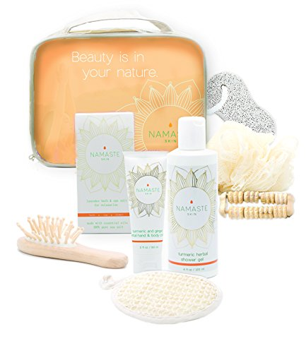 Holiday Special! Spa Gift-Set with Hand & Body Lotion, Shower Gel, Bath Salt, Loofah, Sisal Sponge, Brush Pumice Stone, Rolling Massager, Gift Bag (8-Piece Grapefruit Essential Set)