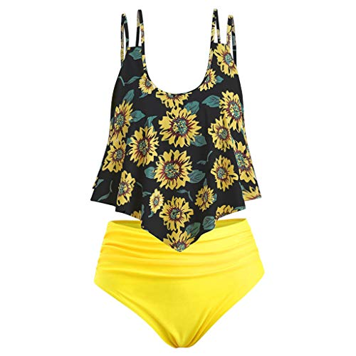 (Women Two Pieces Bathing Suits Top Ruffled with High Waisted Bottom Bikini Set)