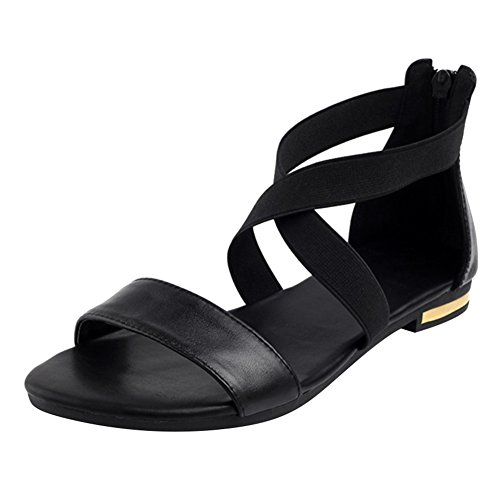 Juleya Women Strappy Sandals Spring Summer Roman Open-Toe Sandals, Block Low Heel Sandals, Zipper Ladies Elegant Fashion Beach Sandals 35-43 Black