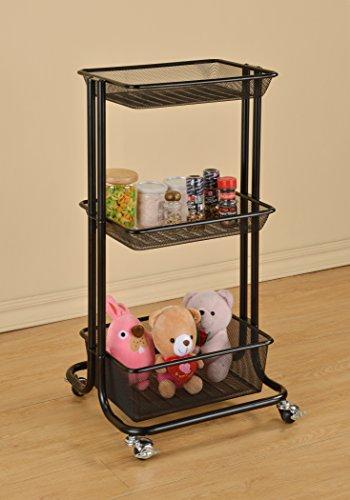 Black Metal Mesh 3-tier Home Kitchen Bedroom Laundry Stor...