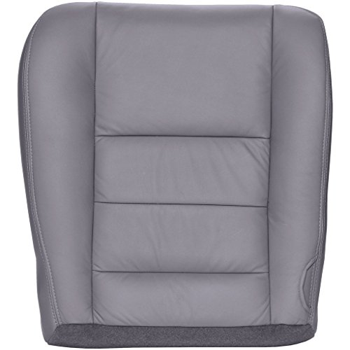 2002-2007 Ford F250/F350 Lariat Crew Cab (Bucket or 40/20/40) Driver Bottom Replacement Seat Cover - Medium Flint (Gray) Leather