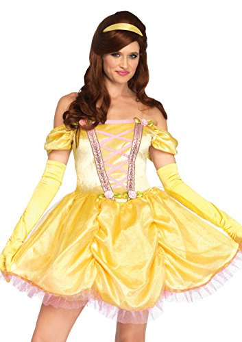Leg Avenue Women's Enchanting Princess Beauty Costume, Yellow, SML/MED -