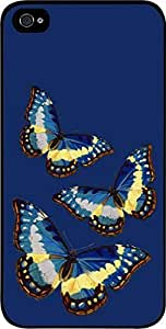 Butterflies on Navy - Case for the Apple Iphone 4-4s Universal-Hard Black Plastic by runtopwell