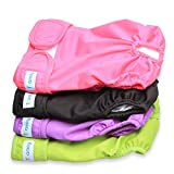 Teamoy 4pcs Washable Female Dog Diapers, Reusable Doggie Diaper Wraps for Female Dogs, Super-Absorbent and Comfortable, Large