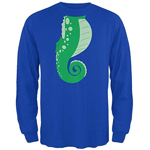 Halloween Seahorse Costume Green Mens Long Sleeve T Shirt Royal SM