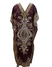 indianbeautifulstore Hippy Kaftan Tunic Kimono Brown Dress Bohemian Beach Cover-up Caftan,Ethanic Print Long Maxi Dress Free Size