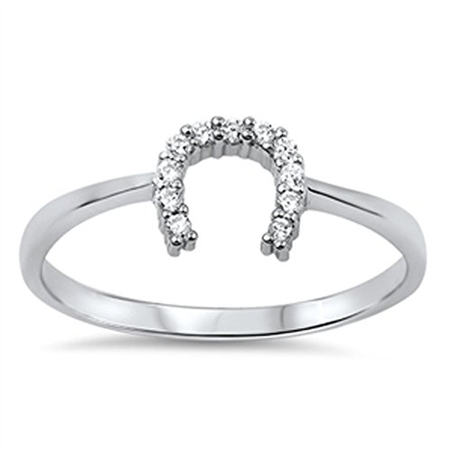 Good Luck Horseshoe U Clear CZ Unique Ring .925 Sterling Silver Band Size 7 (RNG14261-7)