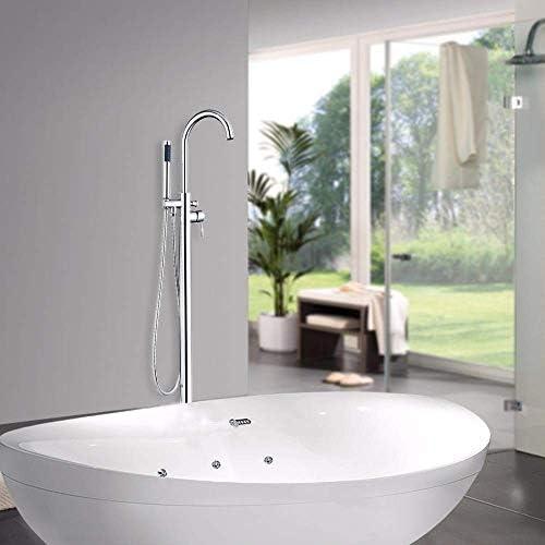 ZXY-NAN システムバス バスルームの滝スパウトはクローム52004フロアマウントシャワーセットの洗面シンクバスタブTorneiraタップミキサー蛇口、イエローをポリッシュ シャワー 降雨 取付簡単 シャワーヘッド ホース セット