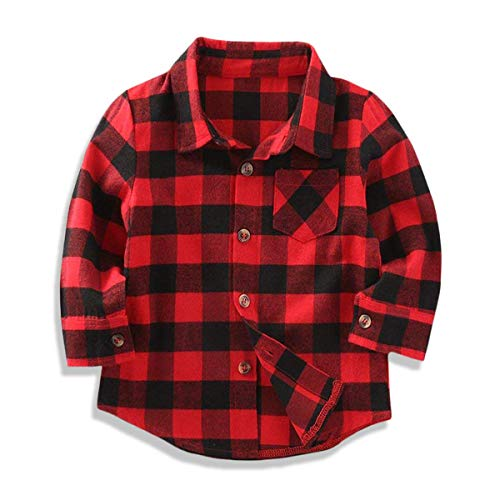 2019 Kids Toddler Baby Boys Girls Hoodie Top Plaid Pocket Jackets Vest Brother Sister T-Shirt Button Clothes (Red Plaid Shirt, 12-18 Months)