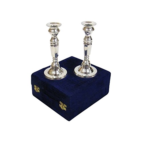 - Nautical Decor Silver Plated Brass Candle Stick Holder Pair, Velvet Boxed