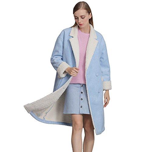 BELLA PHILOSOPHY Women's Long Section Faux Suede Lamb Fur Shearling Jacket (Lamb Suede)
