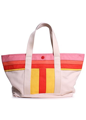 (Tory Burch Stripe-T Small Canvas Tote in Natural)