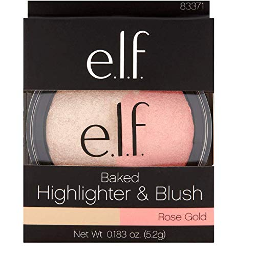 1-e.l.f. Rose Gold Baked Highlighter & Blush, 0.183 oz