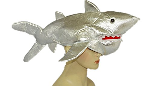 Funny Multicolor Halloween Festival Party Creative Stereoscopic Marine life Mardi Gras Party Costume Hat (Silver Shark) ()