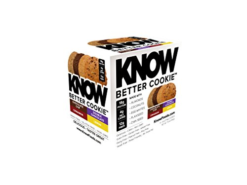 Know Foods Protein Cookies  Gluten Free  Low Carb  4G Net Carbs   Variety Pack  4 Cookies  1 Choco Chip  1 Double Choco Chip  1 Cinnamon  1 Lemon