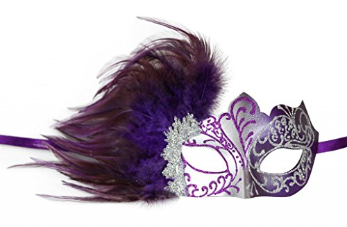 [KAYSO INC Venetian Masquerade Mask with Feathers Silver & Purple] (Purple Feather Mask)