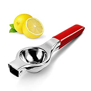 Lemon Squeezer, Panpany Stainless Steel Citrus Juicer with Silicone Handles,Quick and Smooth juicing with 12 weep holes - Red