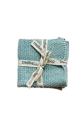 Creative Co-Op Square Cotton Knit Dish Cloths (Set of 2 Pieces)