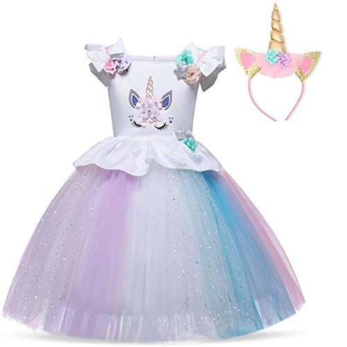 TTYAOVO Girl Flower Unicorn Costume Lace Tulle Princess Pageant Party Dress Size 4-5 Years White&Purple