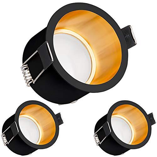 3er LED Einbaustrahler Set Schwarz Gold mit LED GU10 Markenstrahler von LEDANDO - 5W - warmweiss - 120° Abstrahlwinkel - 35W Ersatz - A+ - LED Spot 5 Watt - Einbauleuchte LED rund