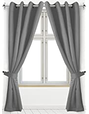 Utopia Bedding - Blackout Thermal Insulated Room Darkening Grommet Curtains Window Panel Drapes - Set of 2 - 8 Grommets/Rings per Panel- 2 Tie Back Included (Grey, 52W X 84L Inches)