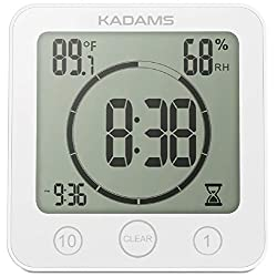 KADAMS Digital Bathroom Shower Kitchen Wall Clock Timer with Alarm, Waterproof for Water Spray, Touch Screen Timer, Temperature Humidity Display with Suction Cup Hanging Hole Shelf Stand - White