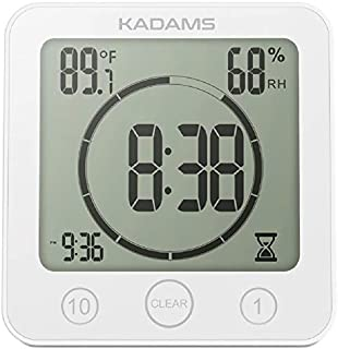 KADAMS Digital Bathroom Shower Kitchen Wall Clock Timer with Alarm, Waterproof for Water Spray,