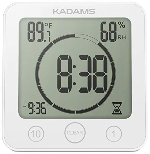 (KADAMS Digital Bathroom Shower Kitchen Wall Clock Timer with Alarm, Waterproof for Water Spray, Touch Screen Timer, Temperature Humidity Display with Suction Cup Hanging Hole Shelf Stand - White)