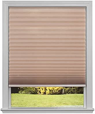 Easy Lift Trim-at-Home Cordless Pleated Light Filtering Fabric Shade Natural, 30 in x 64 in, (Fits Windows 19