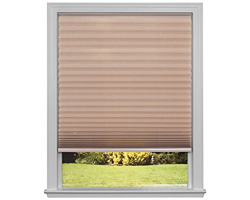 Easy Lift Trim-at-Home Cordless Pleated Light Filtering Fabric Shade Natural, 48 in x 64 in, (Fits windows 31