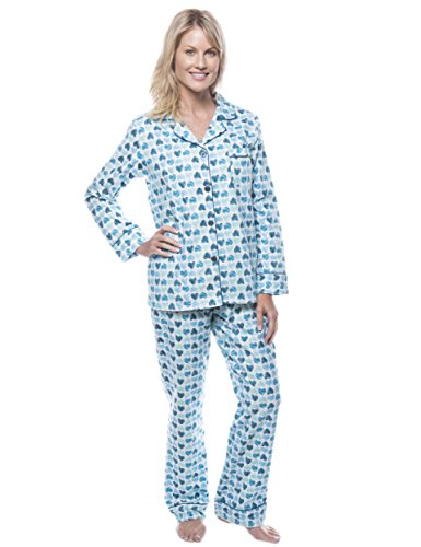 Noble Mount Women's Cotton Flannel Pajama Set - Scribbled Hearts White/Blue - 2XL (Hearts Scribbled)
