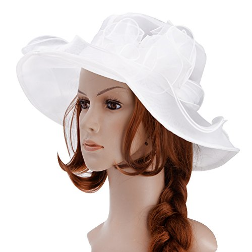 White Hats And Fascinators (Vbiger Ketucky Derby Hats Church hats Large Wide Brim Gauze Hat For Women)