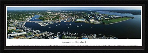 Annapolis, Maryland - Aerial View - Blakeway Panoramas Skyline Posters with Select Frame