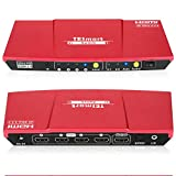 TESmart Ultra HD 4x1 HDMI 4K@60Hz 4:4:4 The Fast Switch 4Kx2K 4 Port HDMI Switch Box Selector 4x1 with S/PDIF and L/R Audio Output, IR Wireless Remote Control, HDMI Switch 4 in 1 Out (Red)