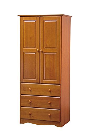 "New! 100% Solid Wood 32""-Combo Wardrobe/Armoire/Closet/3-Drawer Chest by Palace Imports, Honey Pine, 32"