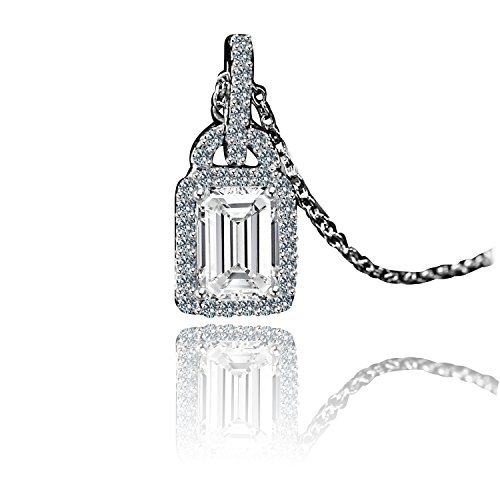 Diamond Veneer - 1Ct Rectangle Radiant Cut Center Simulated Diamond Double Bail Sterling Silver pendant (Radiant Cut Center)