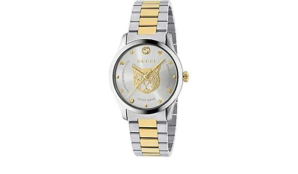 0db6544b7d7 Amazon.com  Gucci G-Timeless Watch 38mm Two Tone Yellow Gold Feline  YA1264074  Watches