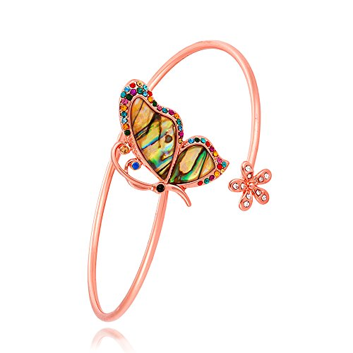 TUSHUO Charm Butterfly Flower Arm Bracelet Natural Abalone Shell Upper Armlet Open Bangle Armband (Rose Gold)