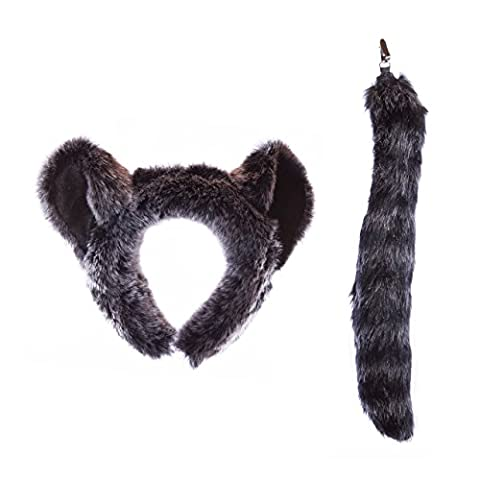 Wildlife Tree Plush Raccoon Ears Headband and Tail Set for Raccoon Costume, Cosplay or Safari Party (Year Of The Raccoon)