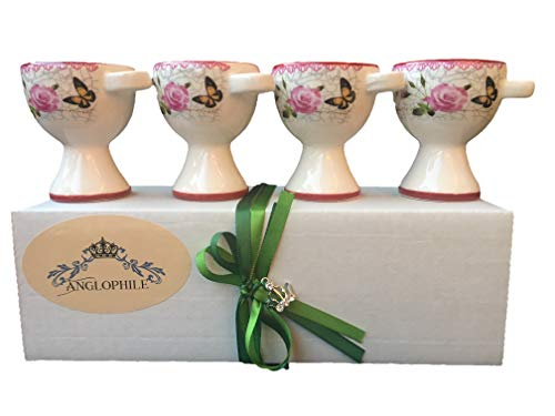 British Style Ceramic Egg Cups Country Garden Rose and Butterfly Design In Beautiful Gift Box - Set of 4