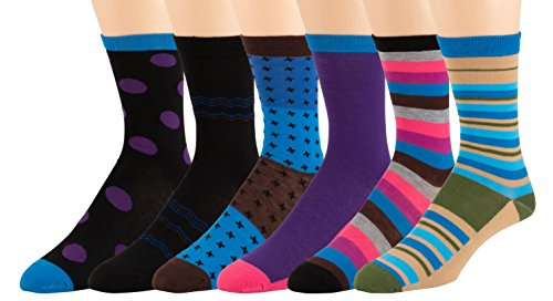 Men's Pattern Dress Funky Fun Colorful Socks 6 Assorted Patterns Size 10-13 (6 Pairs) (9337)