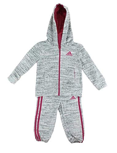 adidas Girls Tricot Hoodie Jacket and Pant Set (LT Grey Heather/Magenta, 6X)