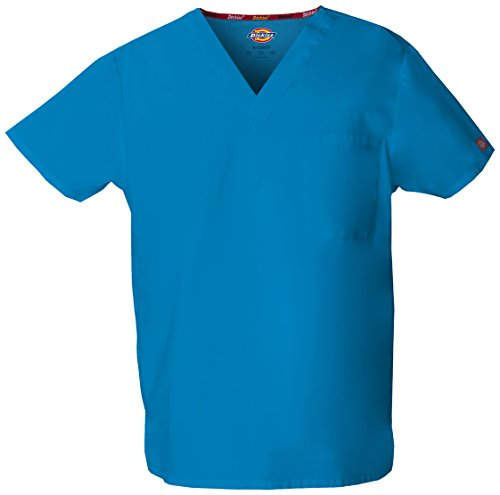 dickies Adult's Unisex V-Neck Scrub Top, Riviera Blue, Small (Dickies Scrub Top Unisex)