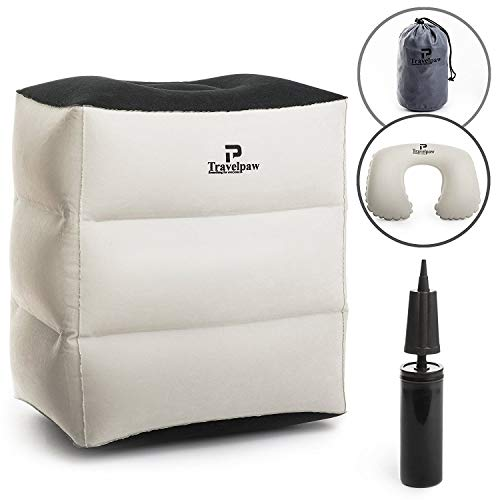 Inflatable Travel Leg Rest Pillow and Sleep Cushion for Kids and Adults – Foot Rest for Airplane/Car / Bus/Train / Office (+Bonus:Neck Pillow,Manual Pump, Carrying Bag,eBook)