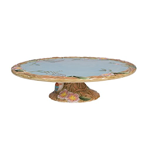 - Fitz and Floyd 20-595 Toulouse Ceramic Footed Cake Plate, Brown