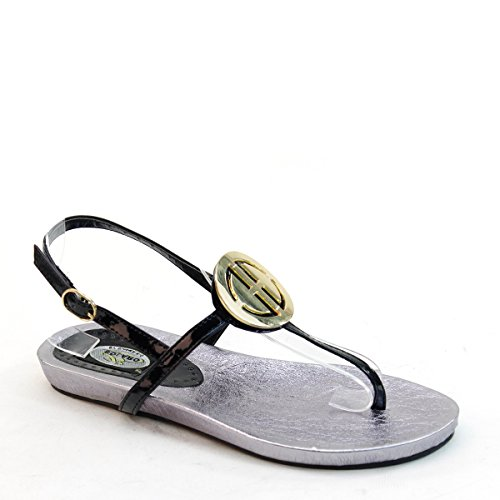 New Brieten Womens T-strap Buckle Comfort Flat Sandals Black pa4NyXQL