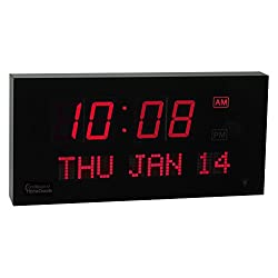 Big Oversized Digital LED Calendar Clock with Day and Date - Shelf or Wall Mount (16 with RED Display) - Includes Military Time Mode!