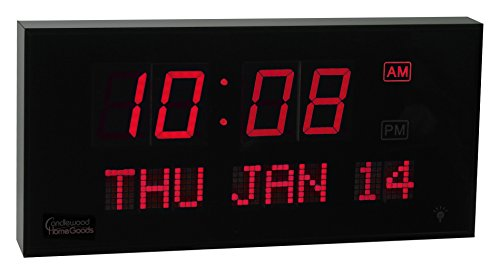 Big Oversized Digital LED Calendar Clock with Day and Date - Shelf or Wall Mount (16