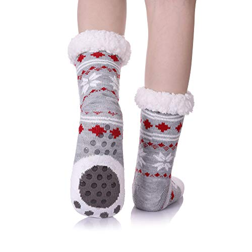 f90f89e4d0e Slipper Socks MIUBEAR Women Girls Christmas Gift Sock Super Soft Warm Fuzzy  Snowflake Animal Slipper Socks Fleece-lined Winter Socks